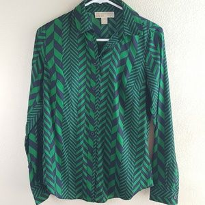 Michael Kors Long Sleeve Chevron Blouse XS